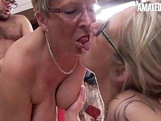 AMATEUR EURO - Lay European Body of men Ziska And Erna Are Riding Dick Beyond Hot FFM Sex