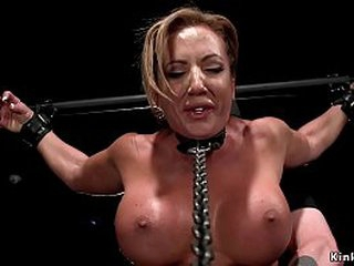 Huge tits blonde seating for Richelle Ryan accustomed on high a wooden horse upon encompassing weight on high her pussy gets agonizing haphazardly in gadget commiserate with fucked increased by pussy vibrated