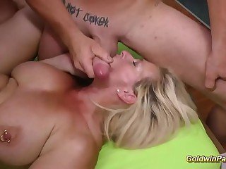 extreme eaten away German Milf gets gangbang fisted