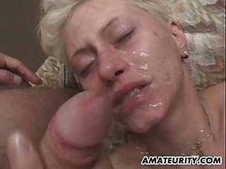 Amateur blonde steady old-fashioned gangbang with bukkake