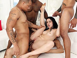 Latina banged overwrought four dastardly dicks