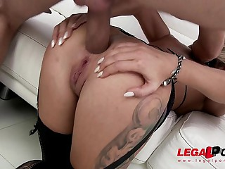 Ex-Gymnast slut Katrin Tequila pioneering anal fucking with DP & twin vaginal